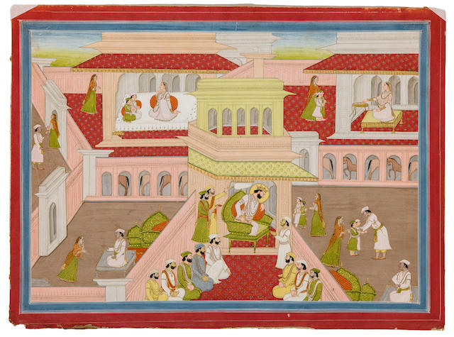 An illustration to the Mahabrata Opaque watercolor and gold on paper, Kangra, mid 19th century