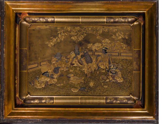 A lacquer tray with the Seven Lucky Gods in raised relief against a kinji ground (some minor horizontal cracks and chips)