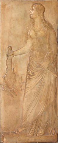 A Classical style composition relief panel of a female musician with antique finish late 20th century