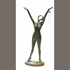 A contemporary patinated bronze female garden statue: Joie!