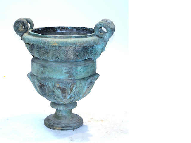 A Neoclassical style patinated bronze garden urn late 20th century