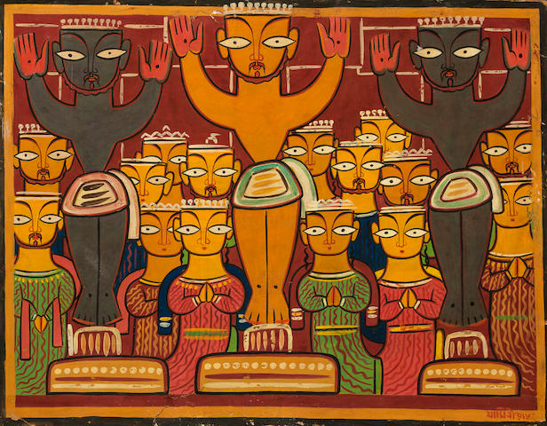 Jamini Roy, Three crucifixions, Watercolor on card, 27 x 21 in.