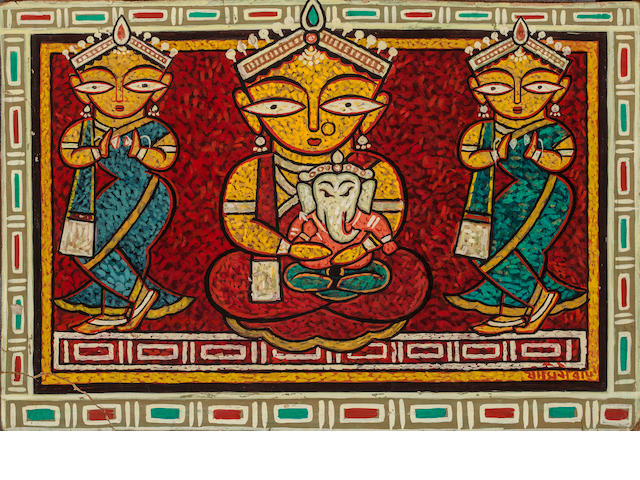 Jamini Roy, Ganesh with Pavarti, Watercolor on card, 23 x 16 in.