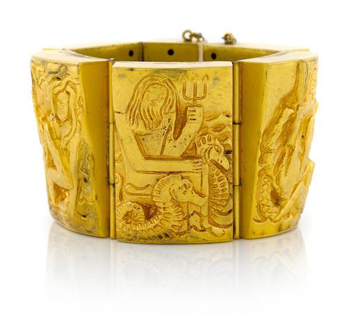 Line Vautrin gilt bronze cuff bracelet