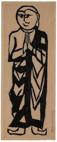 Munakata Shiko (1903-1995)<BR />One large woodblock print