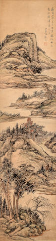 Gu Yun (1835 - 1896) Landscapes in the Style of Shen Zhou