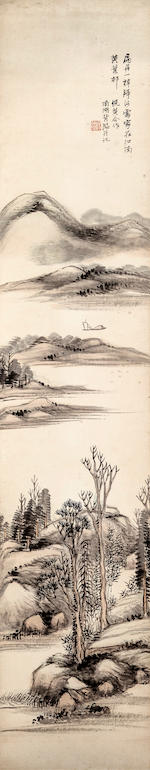 Yang Borun (1837 - 1911)  Set of Four Landscapes