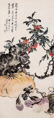 Wu Zheng (1878 - 1949)  Lychees, Squash, Apples and Eggplants, 1944
