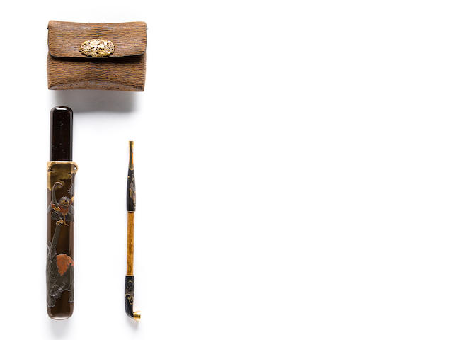 A pipe case, pipe and tobacco pouch suite