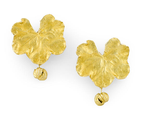 A pair of Claude Lalanne for Artcurial gilt-bronze Collerette ear clips circa 1981-89