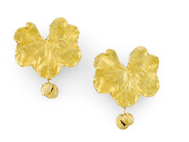 A pair of Claude Lalanne leaf earrings with seed pod drops