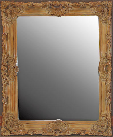 A Rococo style faux bois painted mirror 20th century