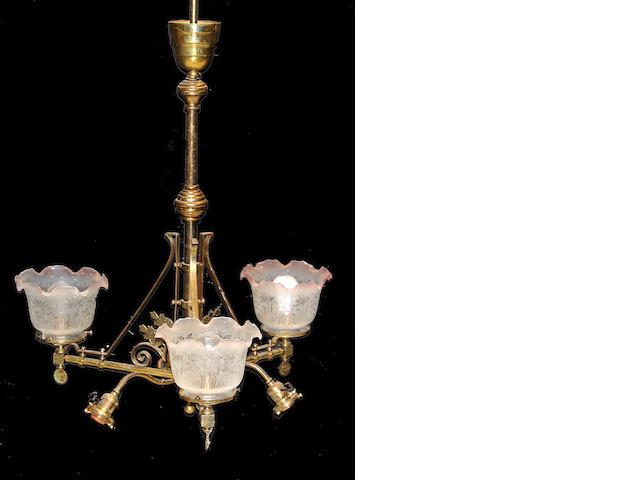 An American Aesthetic gasolier 19th century