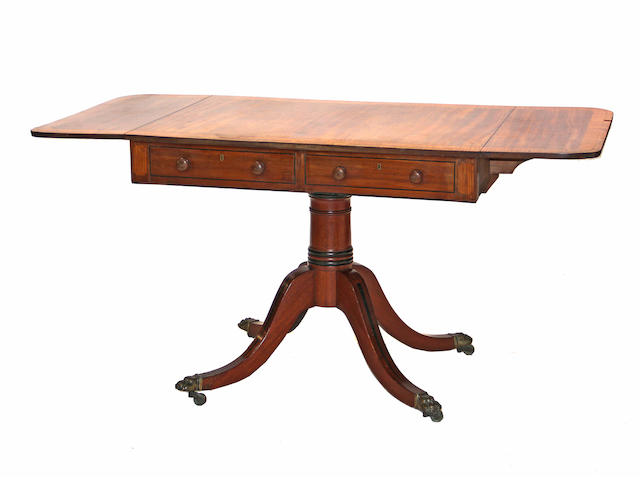 A Regency style crossbanded mahogany sofa table  late 19th century