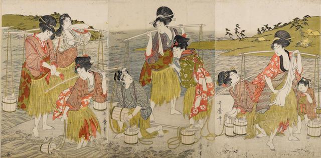 Kitagawa Utamaro (1753-1806)<BR />Woodblock print triptych