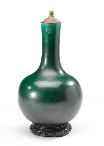 A Chinese green glazed porcelain vase, electrified and converted as a lamp 19th century height 12in