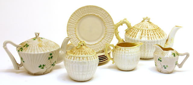 A group of Belleek parian teaware in the Limpet and Harp Shamrock patterns marks used between 1891-1955