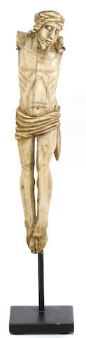 An ivory carved Christ figure  Goa, India, circa 18th century