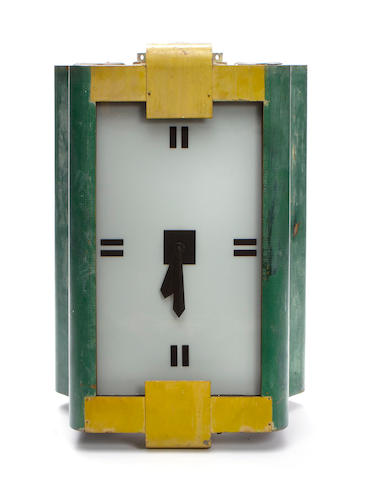 "A green and yellow painted ""tank"" wall clock"