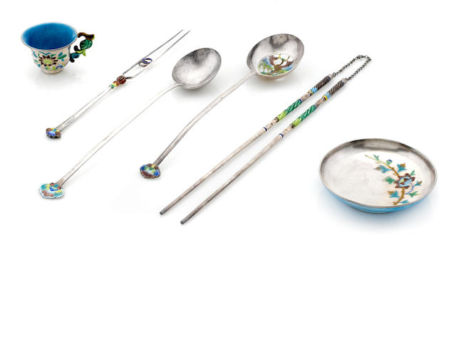 A Chinese  enameled silver  serving set with Chinese character marks,  late 19th / early 20th century
