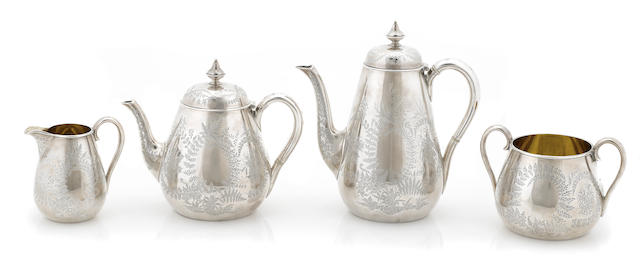 A Victorian  sterling silver four piece tea and coffee service by Barnard & Sons Ltd., London,  1871