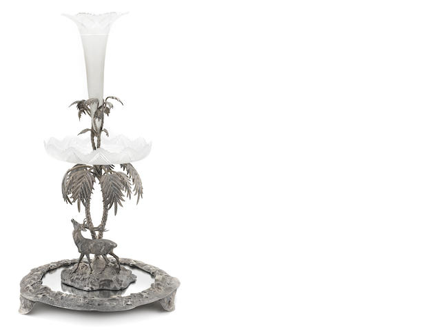 A Victorian  silverplate, etched frosted and mirrored glass  centerpiece late 19th century