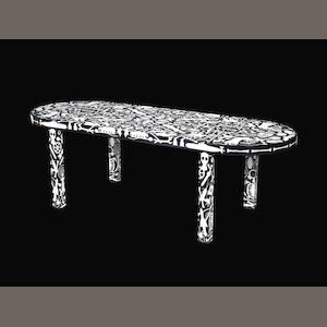 Studio Job Industry Table designed 2008  black pigmented tulip tree, white pigmented bird's eye maple, high gloss finish  29 15/16 by 94 1/2 by 35 7/16 in. 76 by 240 by 90 cm.