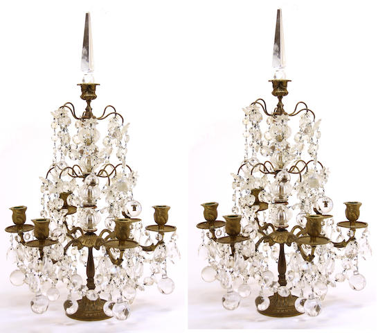 A pair of Louis XV style gilt bronze and cut glass six light girandoles second half 20th century