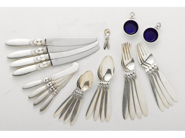A Danish sterling flatware set by Georg Jensen, Copenhagen, post 1945 <BR />Cactus  (28)