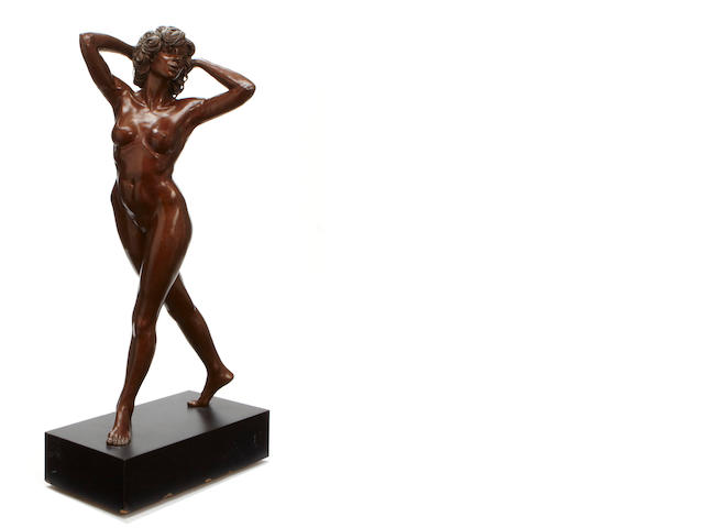 A Vincent Aniano patinated bronze life size figure of a female nude