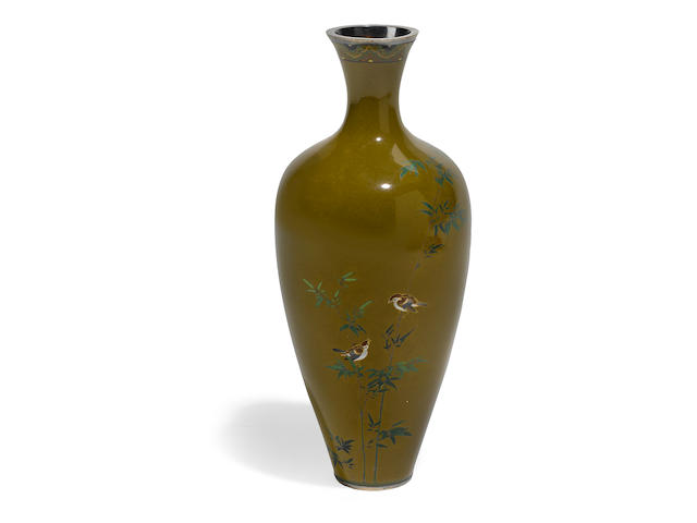 A cloisonné enamel vase By the workshop of Namikawa Yasuyuki (1845-1927), late 19th-early 20th century