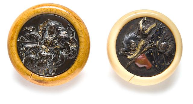 Two ivory kagamibuta netsuke Edo period, 19th century