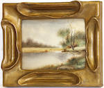 Three watercolors within Arts & Crafts giltwood frames