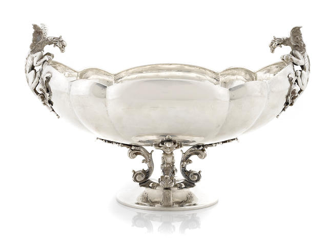 An Italian 800 standard silver footed center bowl