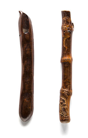 A wood pipe case and a bamboo pipe case Edo period (19th century)