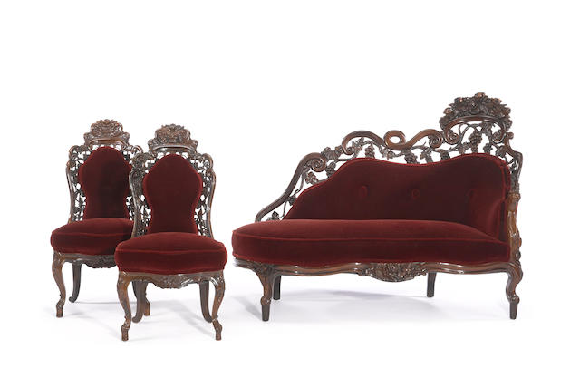 An assembled Rococo Revival laminated rosewood parlor suite<BR />atributed to John Belter<BR />New York<BR />mid 19th century