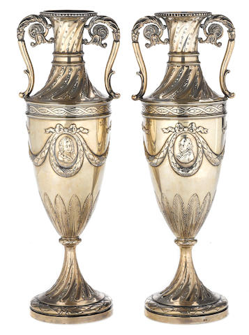 A German 800 standard silver pair of garniture urns in the Louis XVI taste by Simon Rosenau, Bad Kissingen, late 19th-early 20th century  (2)