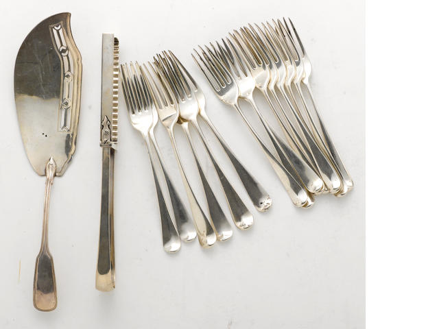 A George III to Regency silver group of flatware  (17)