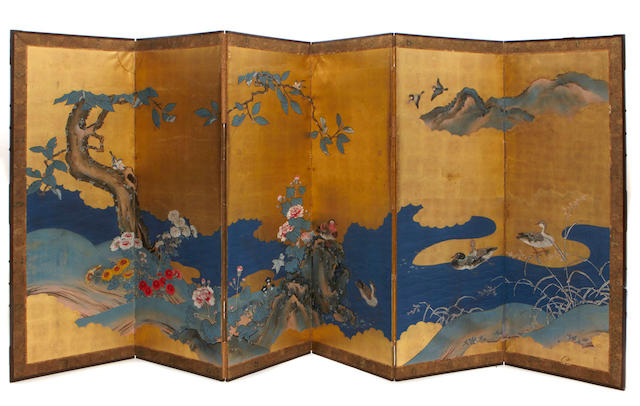 A Japanese six panel screen