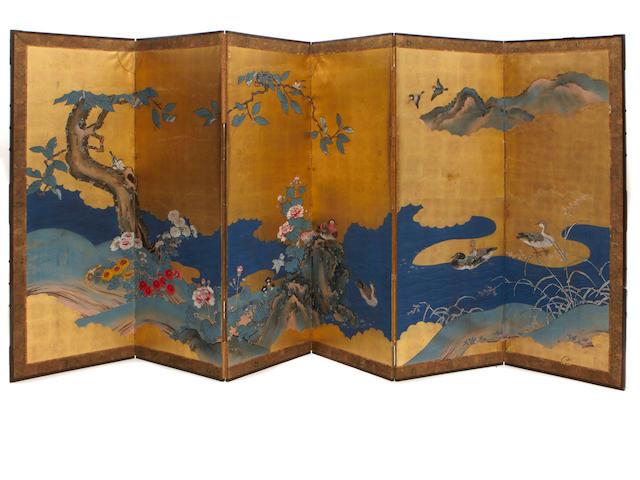 A Japanese six panel screen