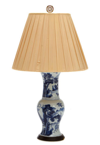A Chinese blue and white baluster-form porcelain vase, now as lamp