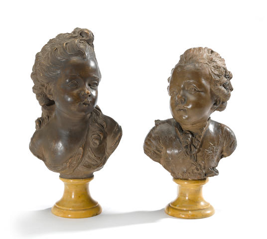 A pair of terracotta portrait busts of Charles-Philippe de Franc and Madame Clotilde<BR />after models by Fernand Cian<BR />late 19th/early 20th century