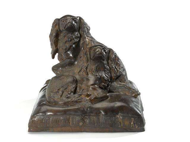 A patinated bronze group of two King Charles spaniels<BR />after a model by Charles Valton (French, 1851-1918)<BR />late 20th century