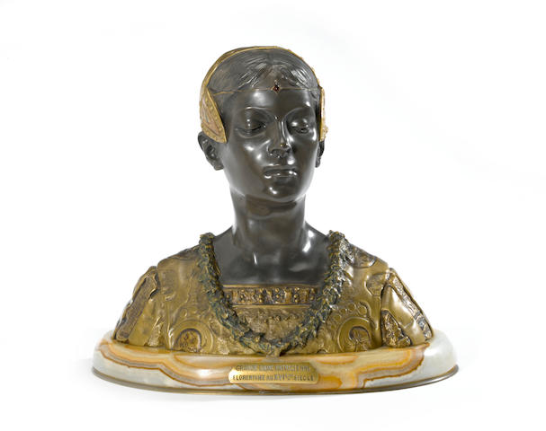 A French gilt and patinated bronze bust: Grande Dame Patricienne<BR />after a model by Roland Colombo-Grange (French)<BR />early 20th century