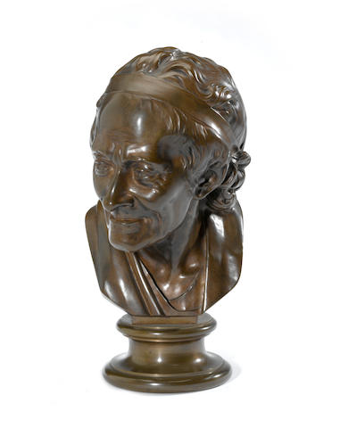 A French patinated bronze portrait bust of François- Marie Arouet (1694 – 1778) known as Voltaire <BR />after a model by Jean-Antoine Houdon (French, 1741- 1828)<BR />late 19th/early 20th century