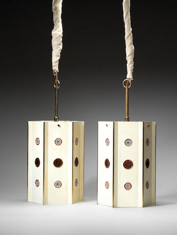 A pair of lanterns with couloured glass rondels Italian C 1950