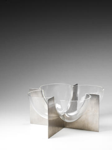 A clear glass  bowl on steel base support Carlo Nason Mazzega, Italy c 1970