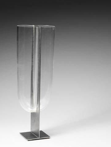 A steel and glass vase Carlo Nason, Mazzega, Italian c 1970