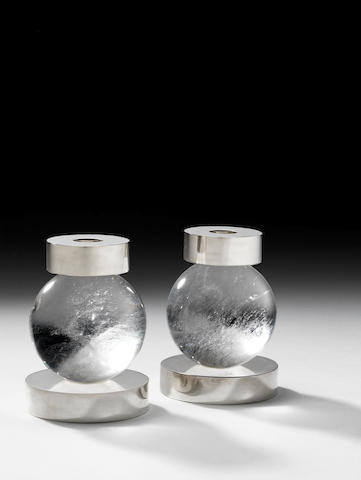 A pair of rock crystal sphere and sterling silver candlesticks Paul Belvoir, English