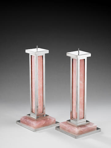 Paul Belvoir A Pair of Large Candlesticks designed 2007  sterling silver and rose quartz hallmarked to the underside of the base Height: 15 1/4 in. 38.5 cm.  These candlesticks are unique.